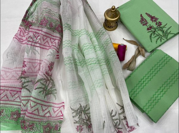 Pale Green And white office wear simple salwar suit design With kota doria dupatta