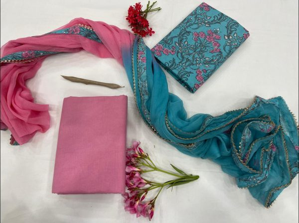 Blue-green And magenta  cotton suits with chiffon Border dupatta