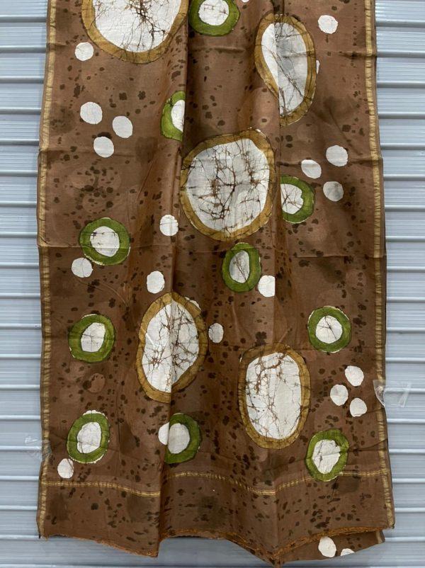 Brown chanderi block print sarees