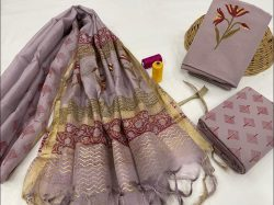 Beautiful Mauve Glow cotton salwar suit with kota silk dupatta