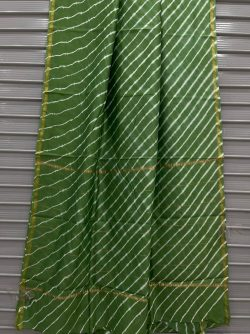 Green Chanderi bagru print saree with blouse