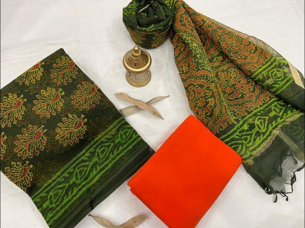 Green pigment print kota doria suits online