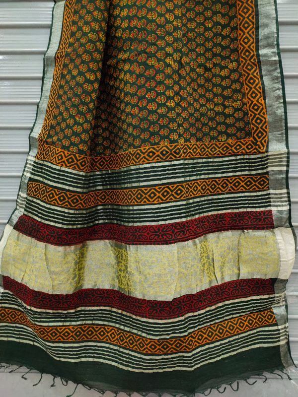 Green cotton linen saree with printed cotton blouse