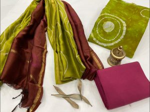 Dull green And magenta cotton salwar suit with chanderi dupatta