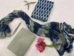 Blue cotton suit pure Chiffon Border dupatta