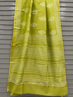Lime chanderi printed sarees With blouse