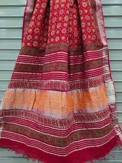 Red crimson linen saree with printed cotton blouse