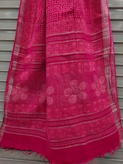 Rose cotton linen saree with printed cotton blouse