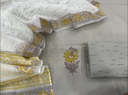 Gray and white Floral print cotton salwar suit set