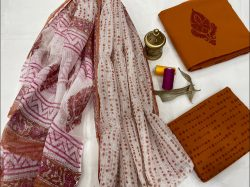 Copper Red mugal print salwar suits designs with kota doria dupatta