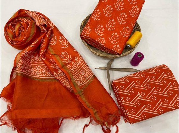 Orange Pigment chanderi suit with dupatta