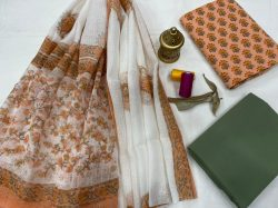 Apricot and green floral print salwar suits designs with kota doria dupatta