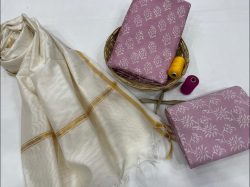 Rose Dust And white chanderi suit with dupatta