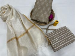 Tan and white Pigment print chanderi suits in jaipur