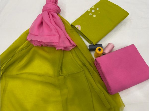 lime and pink ethnic wear pure cotton salwar suits online