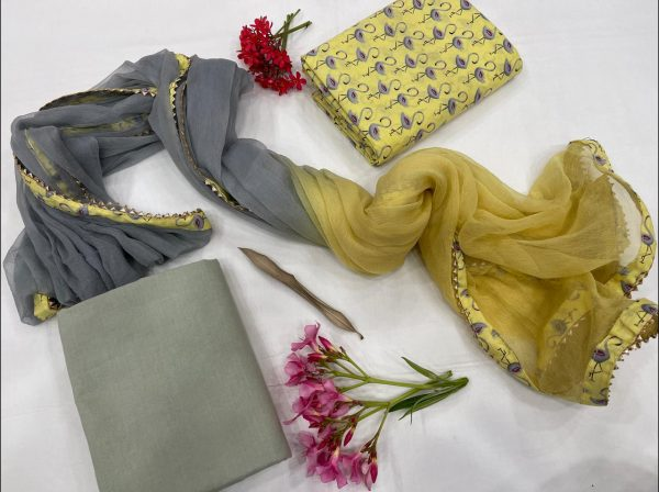 Beige and slate Gray cotton slawar suit set with Chiffon Bordered dupatta