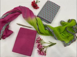 Magenta and Light Teal Blue cotton Salwar suits with chiffon Border dupatta