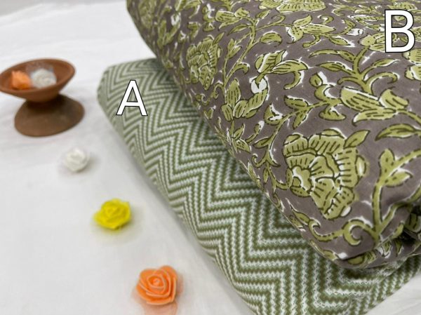 Gray And jungle green floral print cotton running material set