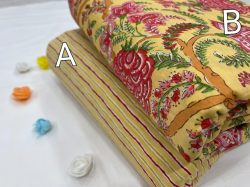 Yellow floral print Pure cotton running fabric