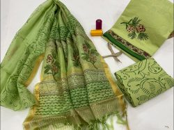 Dull green cotton suit with kota silk dupatta