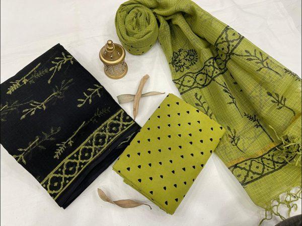 Dull green and Black Pigment print kota doria suits online