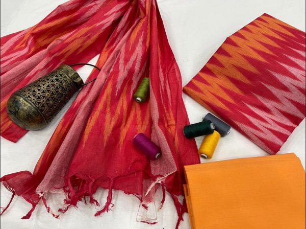 Crimson hand block printed ikkat suit set