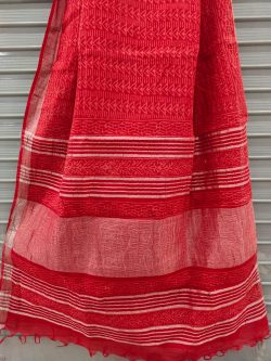 Cherry Red cotton linen saree with printed cotton blouse
