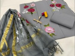 Slate gray Cotton salwar suits with kota silk dupatta