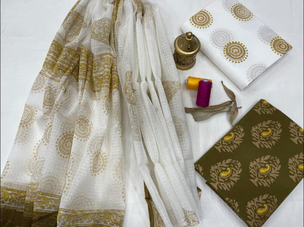 White And Olive green office wear salwar suits designs with kota doria dupatta