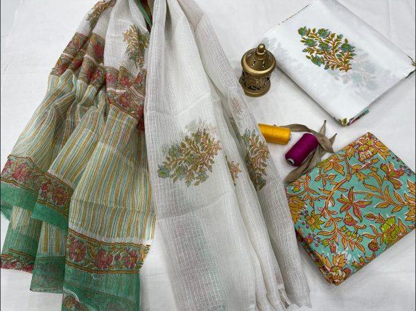 White floral print cotton suits with kota doria dupatta