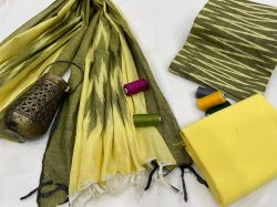 Superior quality Yellow and olive green Jaipuri ikkat salwar suit set with dupatta