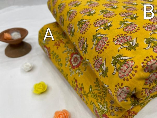 Amber floral print pure cotton running material set