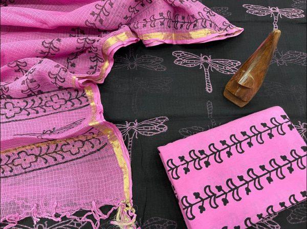 Black Mugal print kota doria suits online