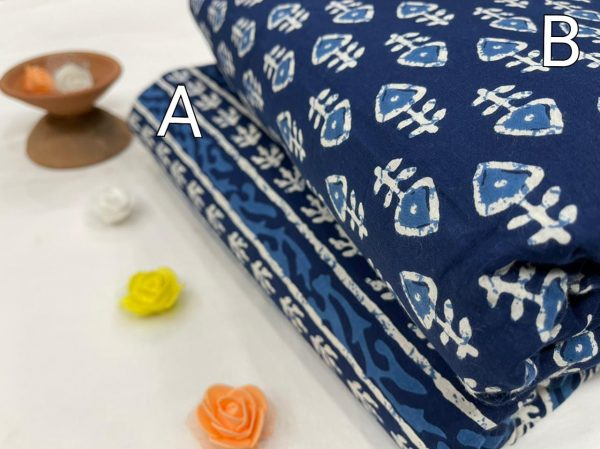 Blue floral print Pure cotton running material set