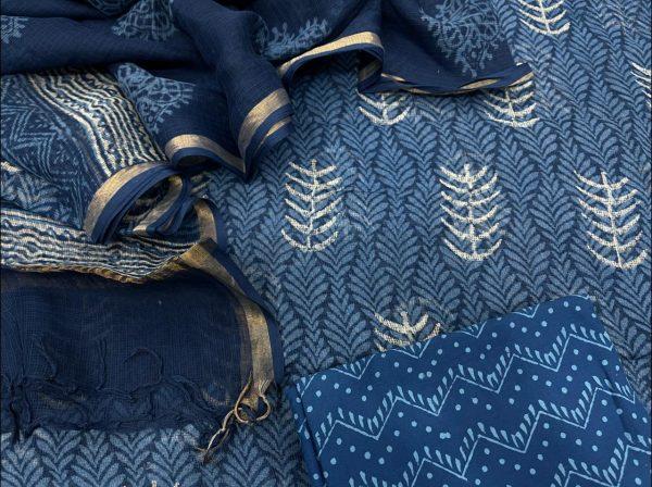 Blue kota doria salwar suits with dupatta