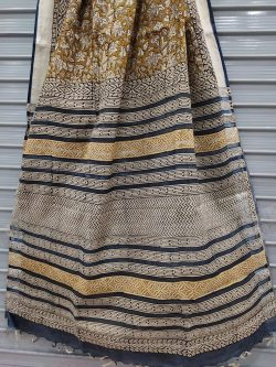 Brown floral print linen saree