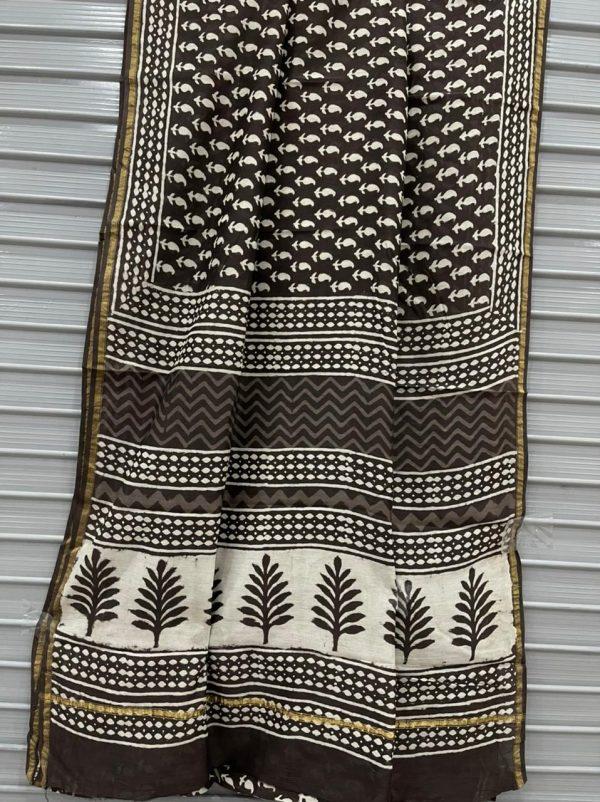 Taupe printed chanderi silk saree