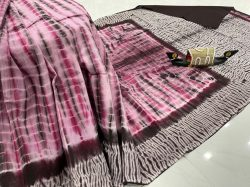 Maroon and Pink shibori print cotton printed saree With blouse low price