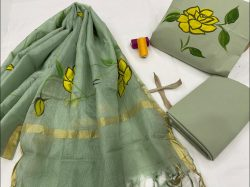 Dull Green cotton suit with kota silk dupatta set
