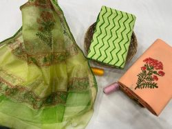 Dull green and Coral salwar suits with kota silk dupatta