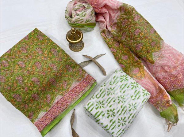 Green floral print kota doria suits wholesale