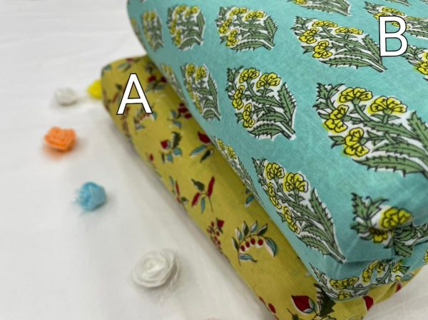 Cyan And Lime floral print pure cotton running material set
