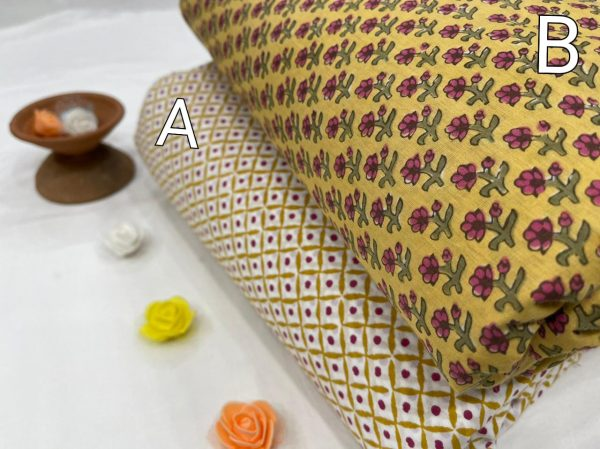 Yellow and Beige Floral print running material set