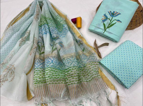 Cyan floral print cotton salwar suits with kota silk dupatta