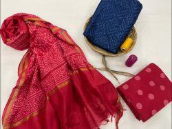 Deep Cherry Red and blue Chanderi suit chanderi suit material online