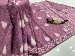 Japanese Plum cotton sarees with price