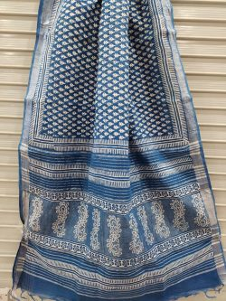 Blue linen saree with blouse