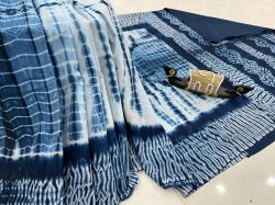 Jaipuri Blue malmal printed saree with blouse