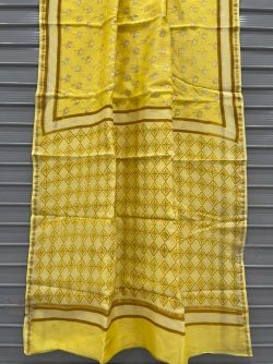 Yellow block print chanderi saree with blouse