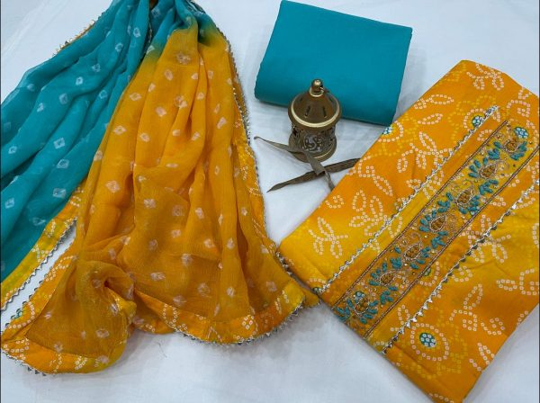 Amber ans cyan printed cotton embroidery suit with chiffon dupatta